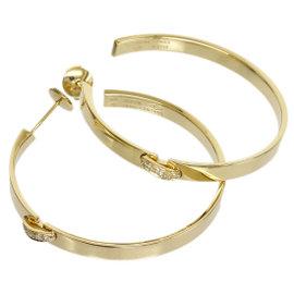 Chaumet 18K Yellow Gold & Diamonds Hoop Earrings