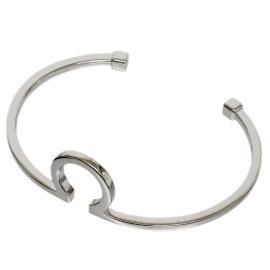 Omega 18K White Gold Logo Design Bangle Bracelet