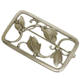 Georg Jensen 925 Sterling Silver Leaf Design Plate Brooch