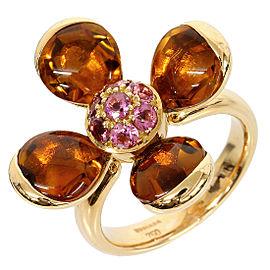 Rugiada 18K Pink Gold Tourmaline Citrine Flower Motif Ring