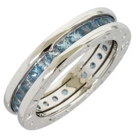 Bulgari B.ZERO1 18K White Gold 1-band Full Eternity Blue Topaz Ring Size Medium