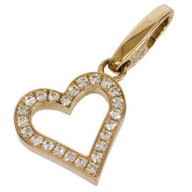 Cartier 18K Rose Gold Pave Diamonds Open Heart Charm Pendant