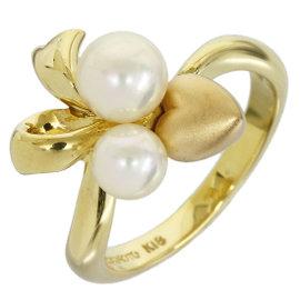 Mikimoto 18K Yellow Gold 2 Pearl Heart & Ribbon Design Band Ring