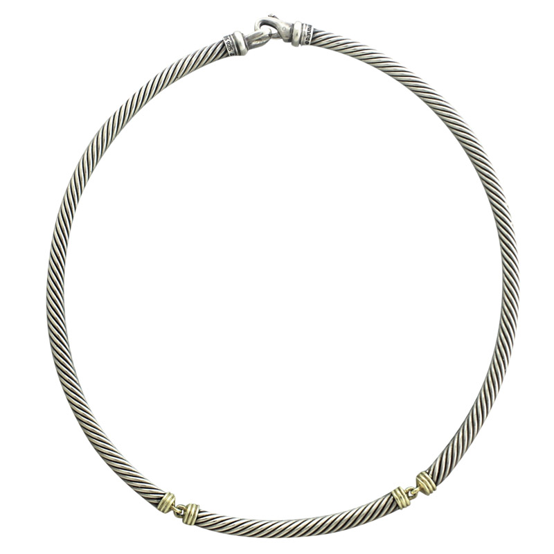 "Image of ""David Yurman 14K Yellow Gold 925 Sterling Silver Cable Necklace"""