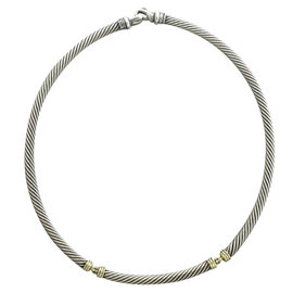 David Yurman 14K Yellow Gold 925 Sterling Silver Cable Necklace