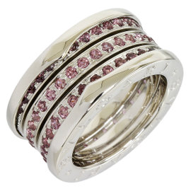 Bulgari B.Zero1 18K White Gold Band Garnet Ring