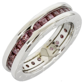 Bulgari Bvlgari B.ZERO1 18K White Gold 1-Band Full Eternity Garnet Ring Size Medium