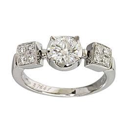 Bulgari 18K White Gold 0.53ct Diamonds Lucia Ring Size 4.25