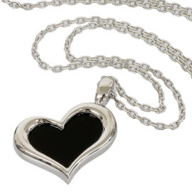 Piaget 18K White Gold & Onyx Heart Motif Necklace Pendant