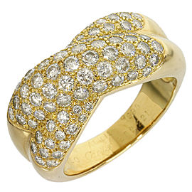 Cartier 18K Yellow Gold Pave Diamonds Band Mens Ring Size 8