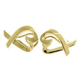 Tiffany & Co. Paloma Picasso 18K 750 Yellow Gold Loving Heart Earrings