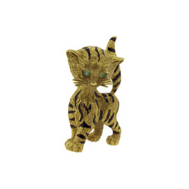 Van Cleef & Arpels 18K Yellow Gold Enamel Circa 1968 Cat Pin Brooch