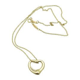 Tiffany & Co. Elsa Peretti 18K Yellow Gold Open Heart 0.04 Ct Diamond Pendant Necklace