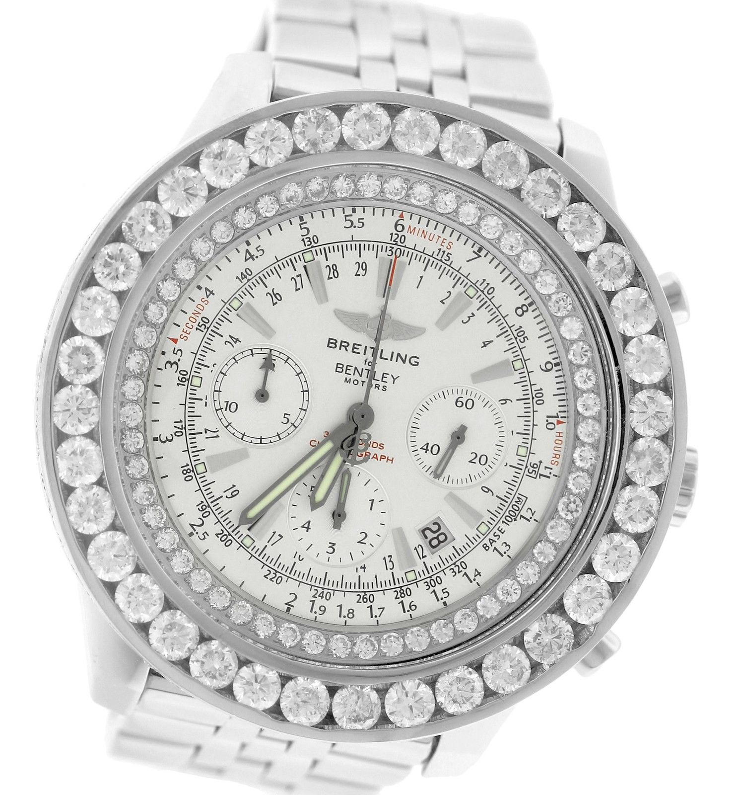 "Image of ""Breitling Bentley A25363 Chronograph Silver Diamond Steel 48mm Mens"""