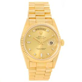 Rolex President Day Date 18238 18K Yellow Gold Diamond Mens Watch