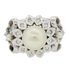 14K White Gold Pearl Diamond Cocktail Ring Size 7.25