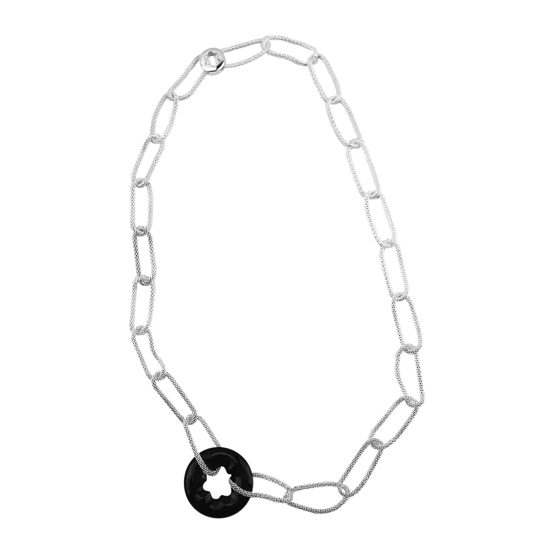 "Image of ""Montblanc Rhodium Plated Polished Sterling Silver Onyx Necklace"""