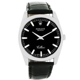 Rolex Cellini Danaos 4243 18K White Gold Black Baton Dial Mens 38mm Watch