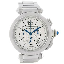 Cartier Pasha W31085M7 Stainless Steel Chronograph 42 mm Mens Watch