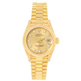 Rolex President 69178 18K Yellow Gold Diamond Dial Womens 26mm Watch