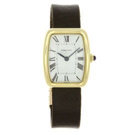 Cartier Paris Tortue 18K Yellow Gold & Leather Manual Vintage 22mm Womens Watch 1970's
