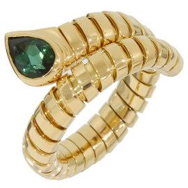 Bulgari Bulgari 18K Yellow Gold & Green Tourmaline Ring Size 5