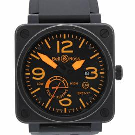 Bell & Ross BR01 Limited Edition BR01-97 PVD Black Steel Orange Power Reserve 46mm Watch