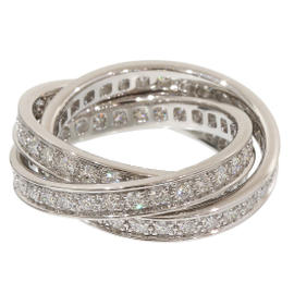 Cartier Trinity de 18K White Gold Diamonds Ring Size 5