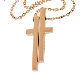 Gucci 18k Rose Gold Separate Cross Pendant Necklace