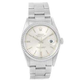 Rolex Datejust 16234 Steel 18K White Gold Silver Baton Dial Mens 36mm Watch