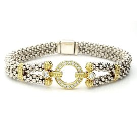 Lagos Circle Game Sterling Silver & 18K Yellow Gold 0.56 Ct Diamond Caviar Bracelet