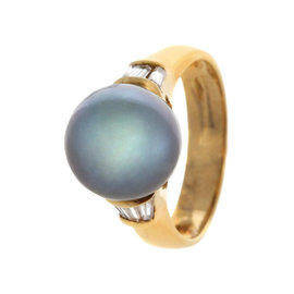18K Yellow Gold Black Tahitian Cultured Pearl And 0.40ct. Diamond Ring Size 6.5