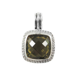 David Yurman Sterling Silver .30ct. Olive Quartz Diamond Albion Pendant