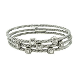 Charriol 18K White Gold & Stainless Steel 0.70 Ct Diamond Bracelets Set of 3