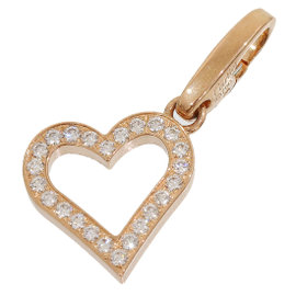 Cartier 18K Rose Gold Paved Diamond Open Heart Charm Pendant