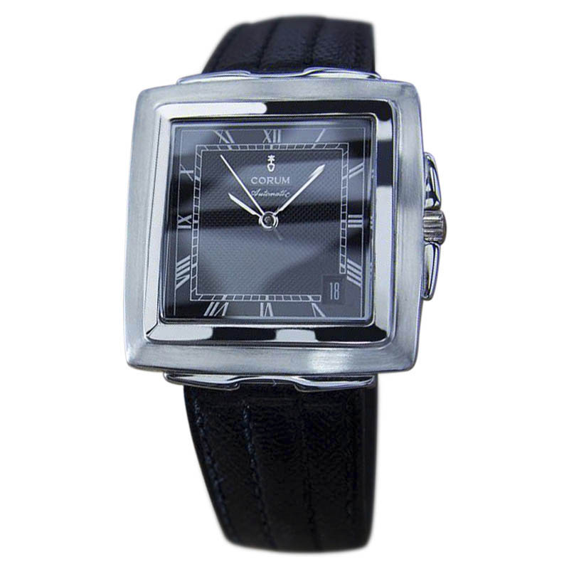 "Image of ""Corum Quadratus Automatic Stainless Steel & Leather 33mm Mens Watch"""