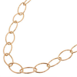 Mikimoto 18K Rose Gold Oval Design Chain Link Necklace