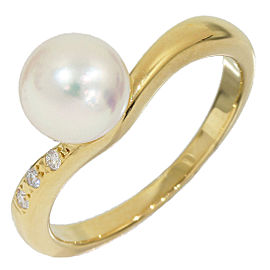 Mikimoto 18K Yellow Gold Pearl Diamonds Ring Size 5.25