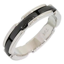 Chanel 18K White Gold & Ceramic Ring Size 7