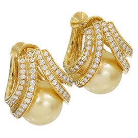 Mikimoto 18K Yellow Gold Pearl & 0.37ct Diamond Earrings