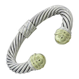 David Yurman Cable 14K White Gold and Sterling Silver Link Cuff Bracelet