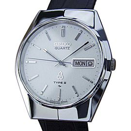 Seiko Type II Stainless Steel & Leather Quartz 35mm Mens Watch 1980s