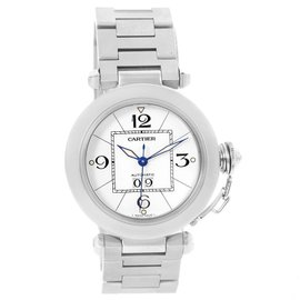Cartier Pasha C W31055M7 Big Date Stainless Steel White Dial 35mm Unisex Watch