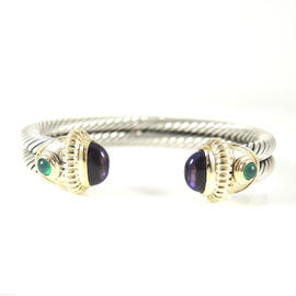 David Yurman Sterling Silver 14K Yellow Gold 2-Row Amethyst Green Onyx Renaissance Bracelet