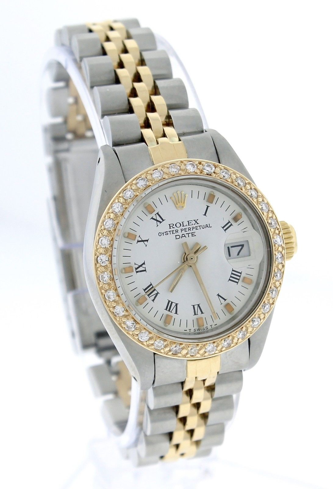 "Image of ""Rolex Date 6917 18K Yellow Gold / Stainless Steel Diamond White Roman"""