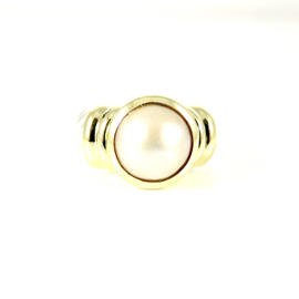 David Yurman Sterling Silver 14K Yellow Gold Mabe Pearl Albion Ring