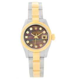 Rolex Datejust 179163 Stainless Steel and 18K Yellow Gold Black Mother of Pearl Diamond Dial 26mm Watch