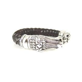 Kieselstein-Cord Sterling Silver Alligator Brown Braided Leather Bracelet