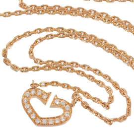 Cartier 18K Rose Gold C Heart of Cartier Diamonds Pendant Necklace