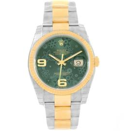 Rolex Datejust 116233 Stainless Steel & 18K Yellow Gold Green Floral Dial 36mm Mens Watch